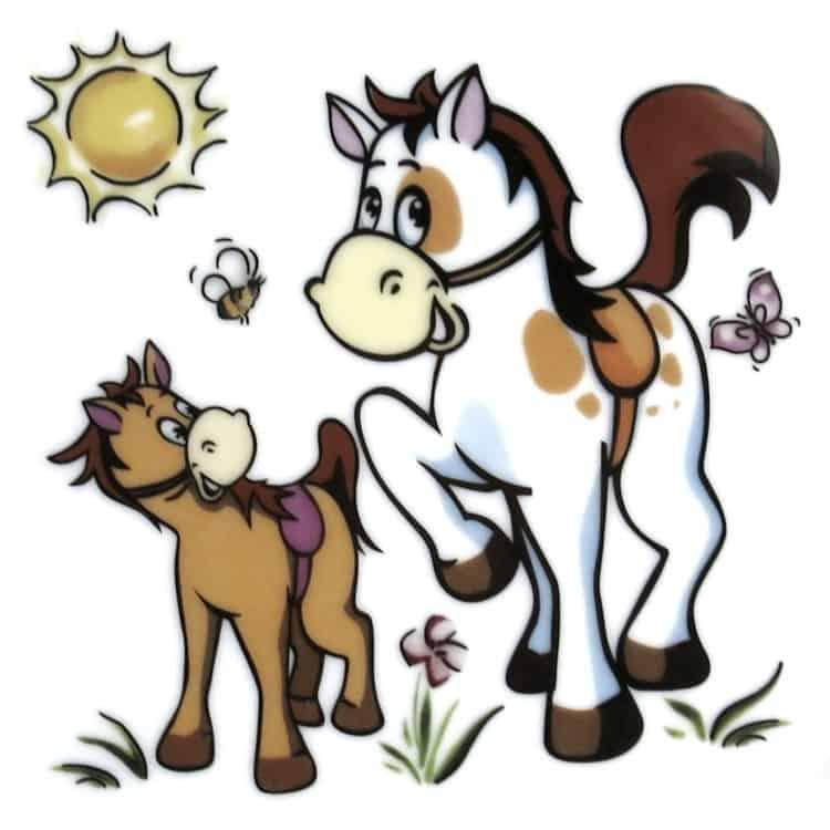 Kindergarten Porzellan Motiv Pony und Pferdchen