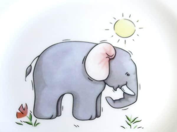 Kindergarten Porzellan Motiv Elefant mit Sonne
