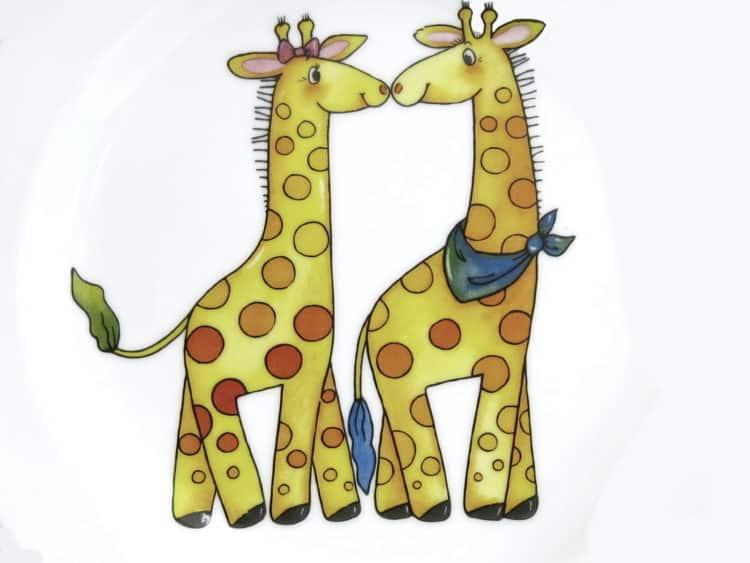 Kindergarten Porzellan Motiv Giraffenpaar