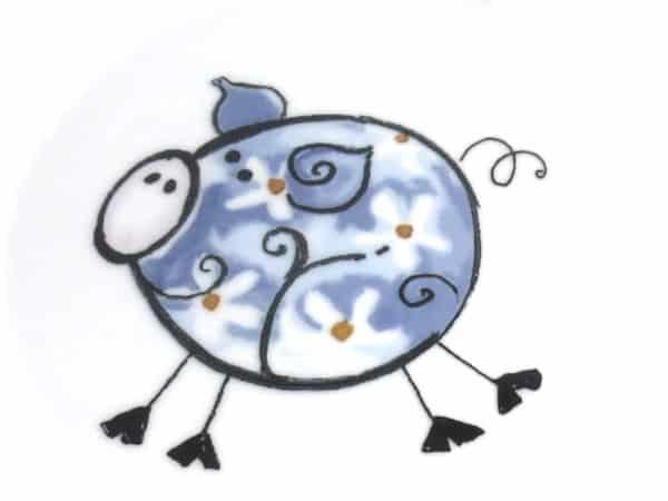 kunterbunt Schwein blau Kindergarten Porzellan Motiv
