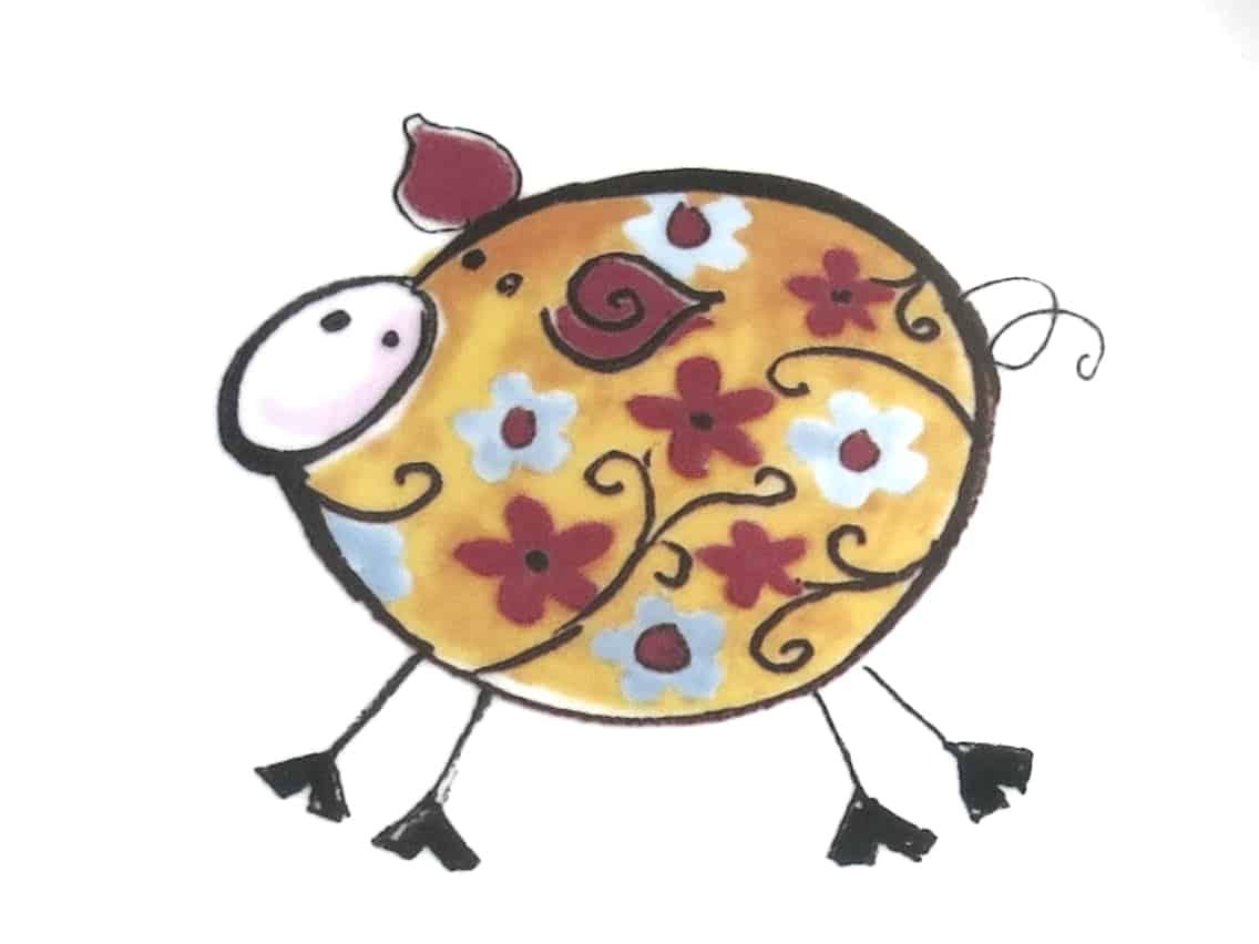 kunterbunt Schwein orangeKindergarten Porzellan Motiv
