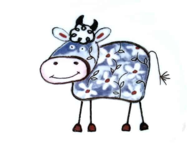 Kunterbunt Kuh BlauKindergarten Porzellan Motiv
