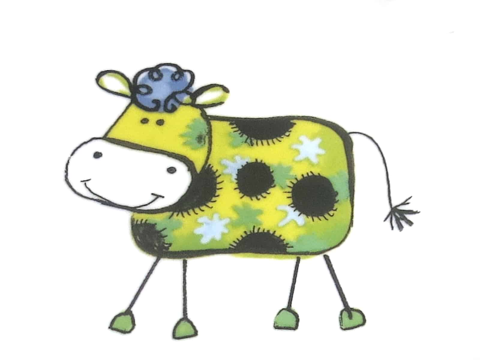 Kunterbunt Kuh gelb Kindergarten Porzellan Motiv