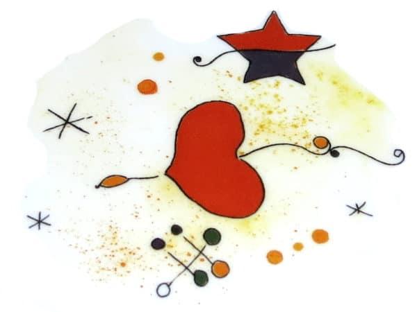 Rotes Herz Motiv angelehnt an den Künstler Miro