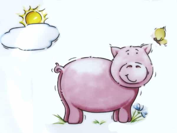 Kindergarten Porzellan Motiv Schweinchen