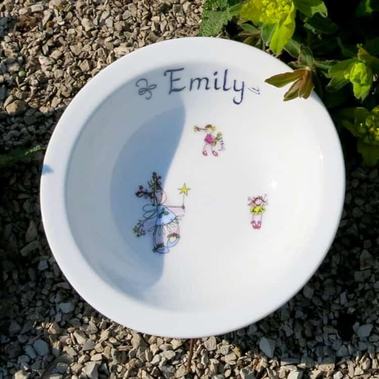 Müslischüssel 16 cm aus weißem Porzellan mit Namen und allen 3 Mädchen