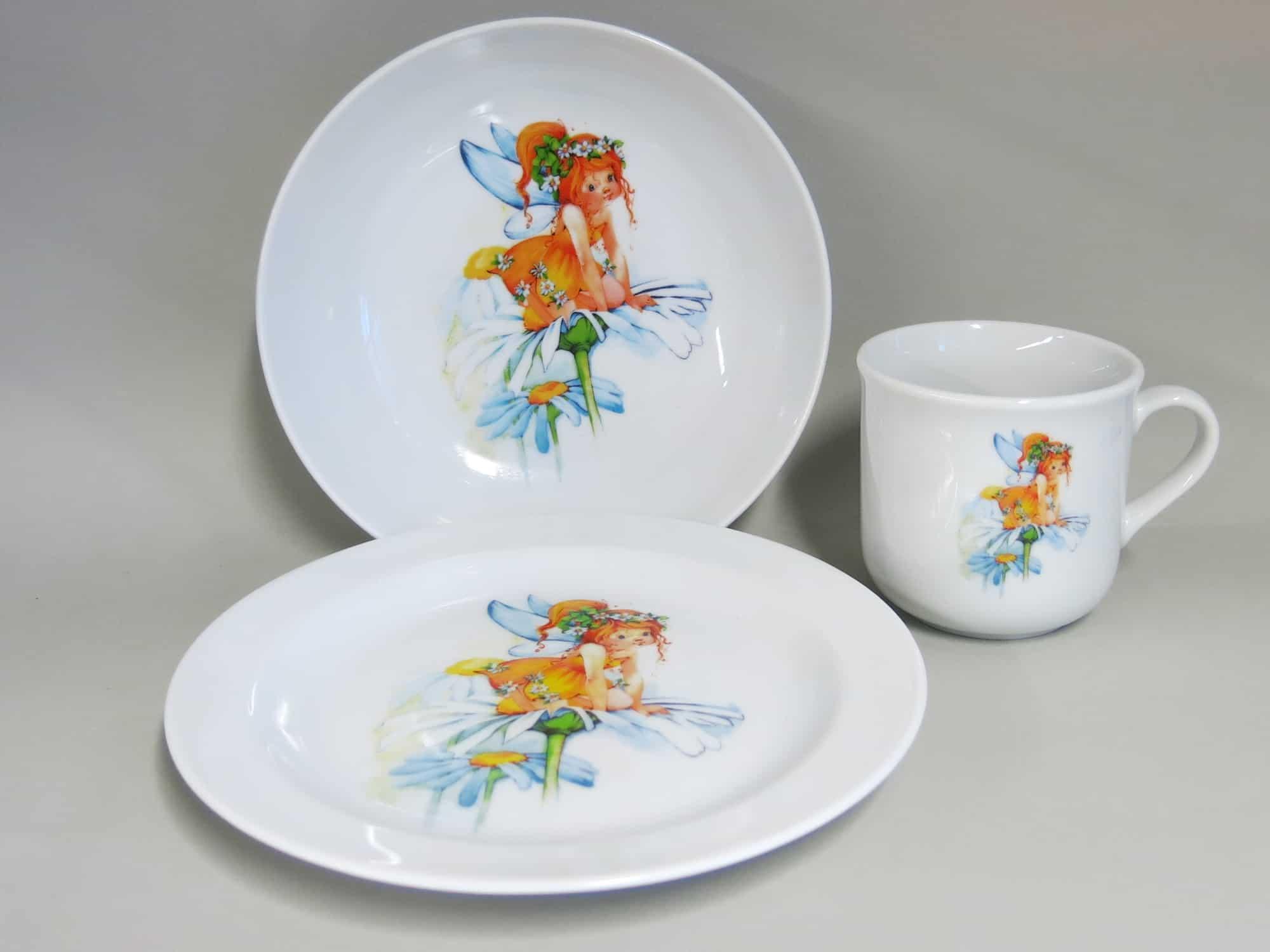 Kindergeschirr Porzellan Set mit Becher, Teller und Schale, Elfe Margarita Sonnenschein