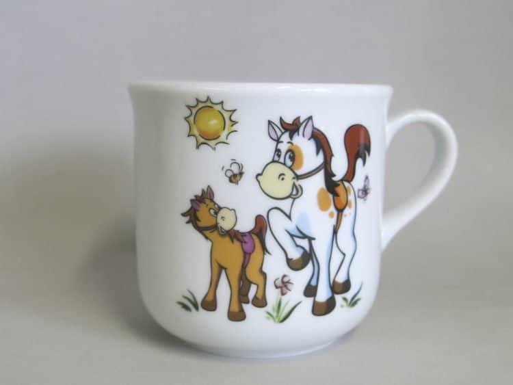 Kinderbecher 230 ml mit Pferd und Pony in der Sonne