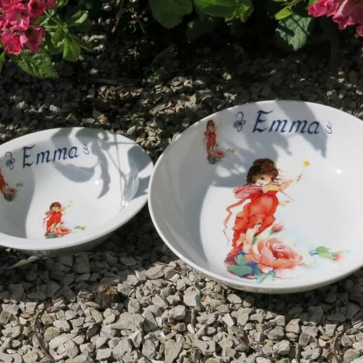 Kindergeschrirr Schüssel 16 cm und Schale 18 cm mit Elfe Rose und Namen personalisiert