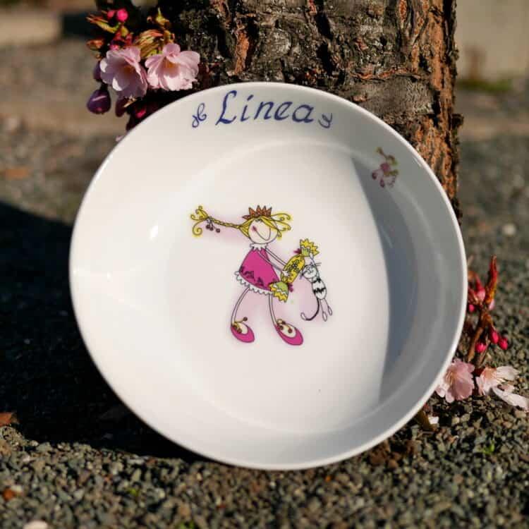Kindergeschirr Porzellan tiefe Schale 18cm mit Prinzessin Mia und Namen