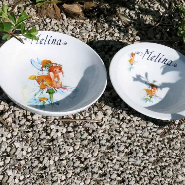 Kindergeschirr Schüsseln mit Namen und Elfe Sonnenschein