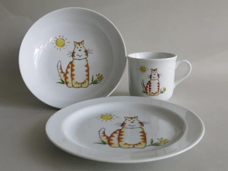 Geschirrset Coup mit Katze und Sonne
