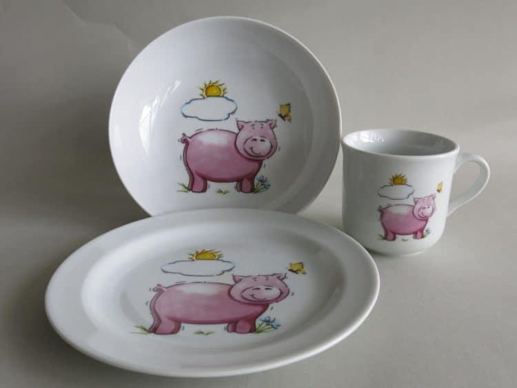 Geschirrset Coup mit Schwein und Sonne