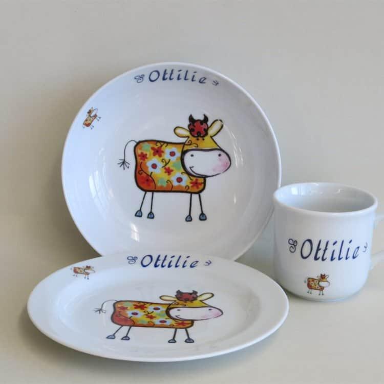 Kindergeschirr Porzellan Set Becher, Teller, Schale, und Müslischüssel Farm Kunterbunt Kuh Rosie