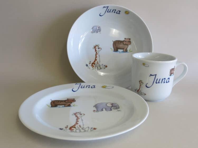 Kindergeschirr Porzellan Set mit Becher, Schale und Früstücksteller, afrikanische Tiere