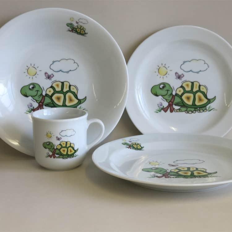 Kindergeschirr Porzellan Set mit Becher, Ess- und Suppenteller, Frühstücksteller Schildkröte