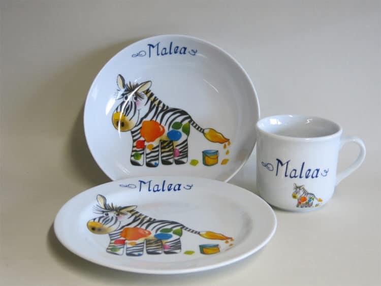 Geschirrset Coup mit Zebra personalisiert