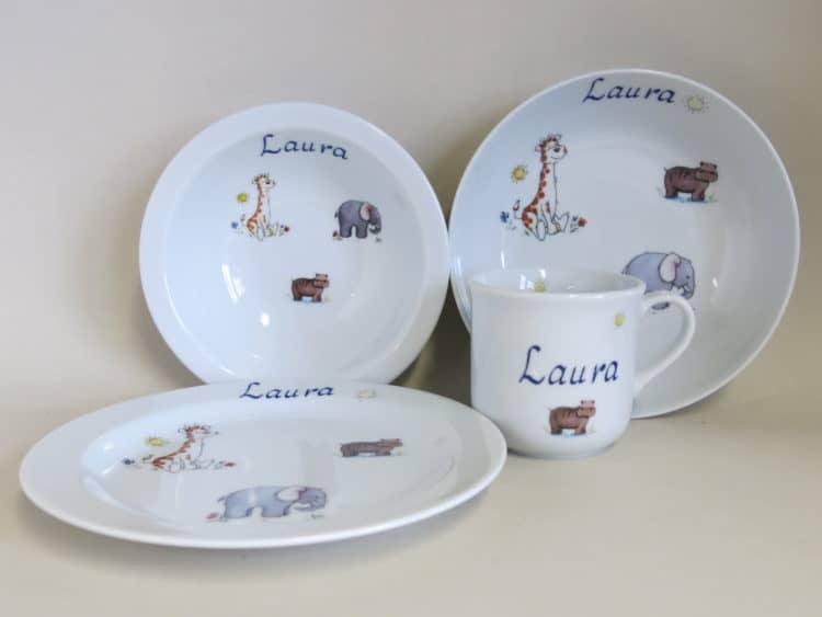 Kindergeschirr Porzellan Set Becher, Teller, Schale und Müslischüssel, afrikanische Tiere