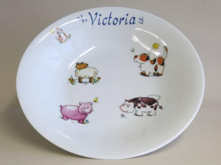 Suppenteller 22 cm mit Namen und Bauernhoftieren