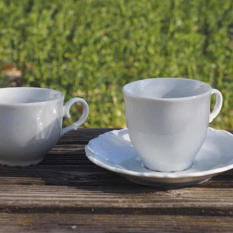 Teetasse Ofelie und Kaffeetasse Ofelie mit Unterteller