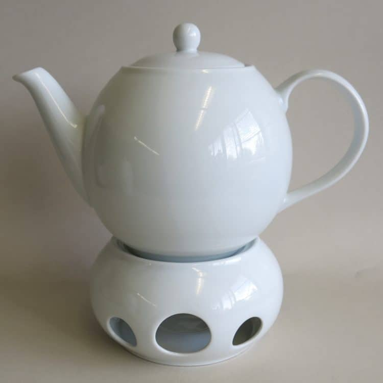 Teekanne 1,2 l und Stövchen Olympia weiß