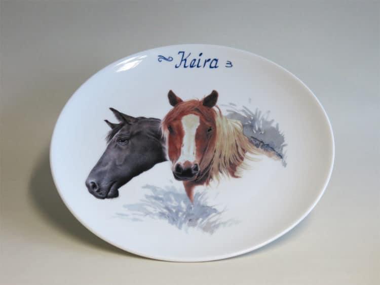 Frühstücksgeschirr Porzellan Teller 20 cm mit Haflinger und Rappe