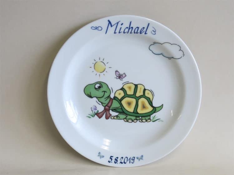 Kindergeschirr Porzellanteller 19 cm mit Schildkröte