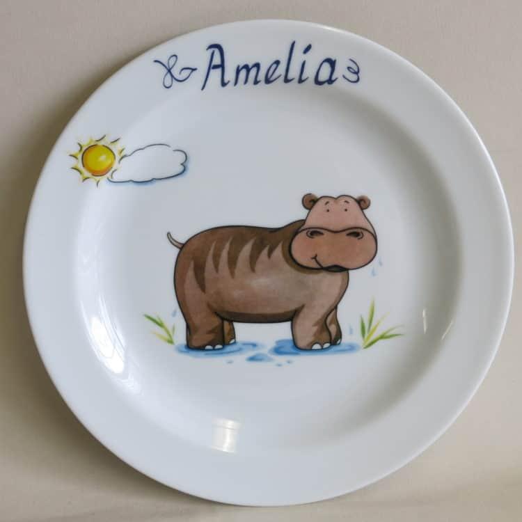 Kindergeschirr Porzellan Teller 19 cm Nilpferd mit Sonne