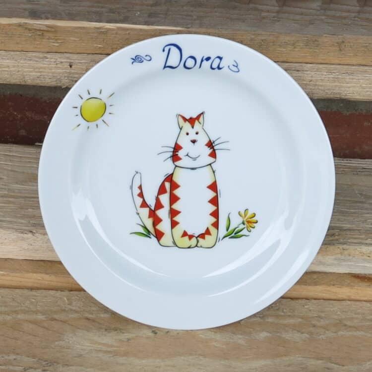 Abendbrotteller 19 cm mit Tigerkatze und Namen
