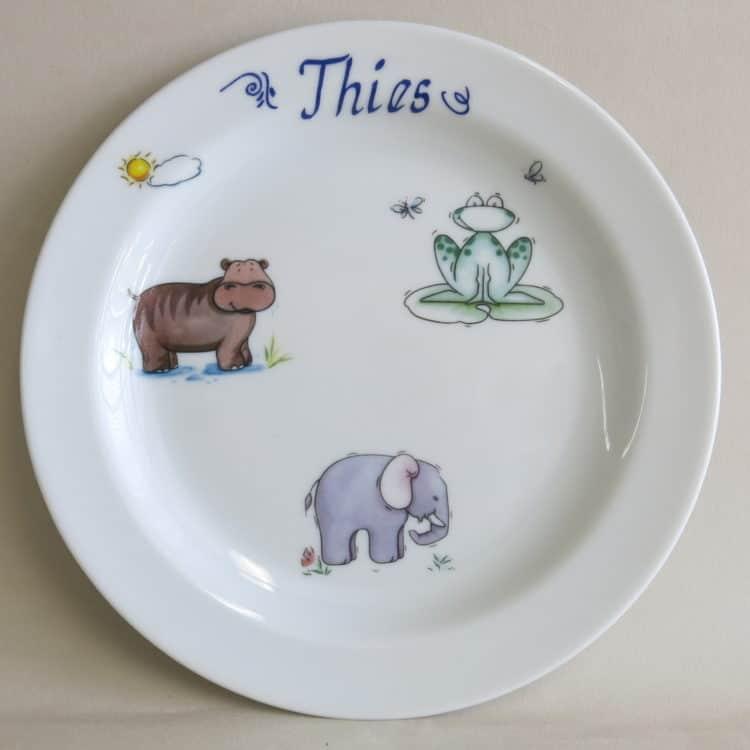 Kindergeschirr Porzellan Teller 19 cm afrikanische Tiere am Fluss