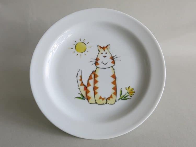Frühstücksteller 19 cm mit Katze und Sonne