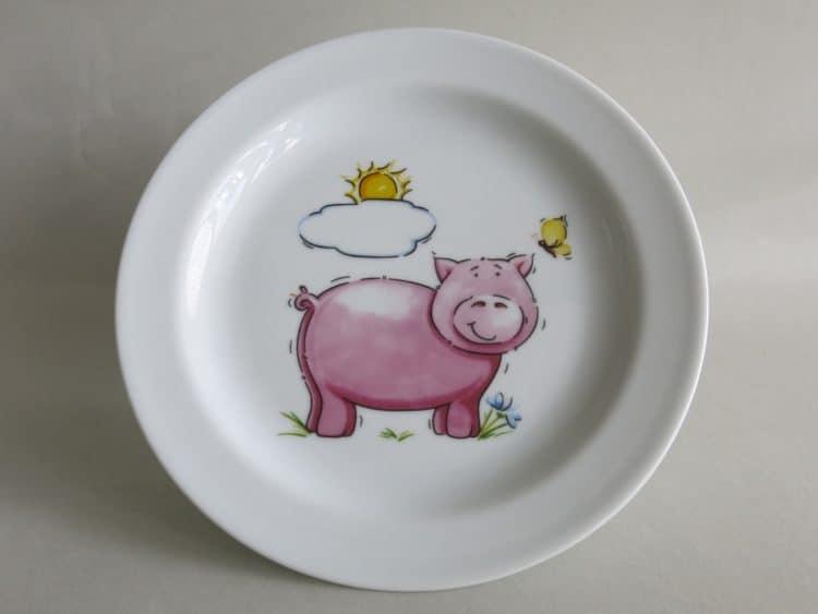Abendbrotteller Olympia 19 cm mit Schwein und Sonne