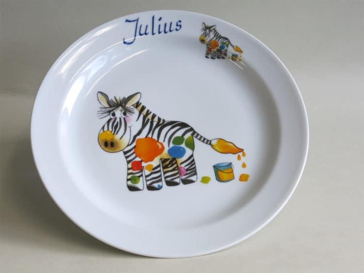 Kindergeschirr Porzellan Essteller 24 cm Zebra