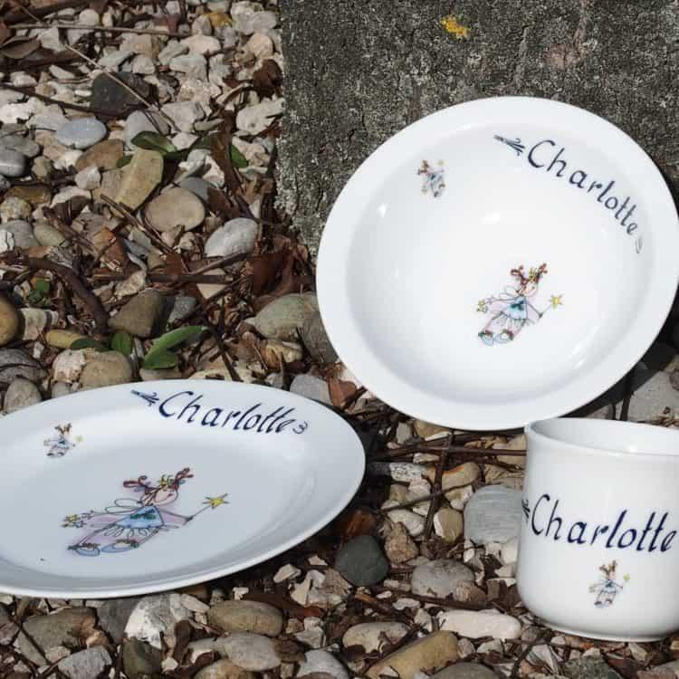 Kindergeschirr Porzellan Set Becher, Teller, Müslischüssel mit Fee und Namen personalisiert