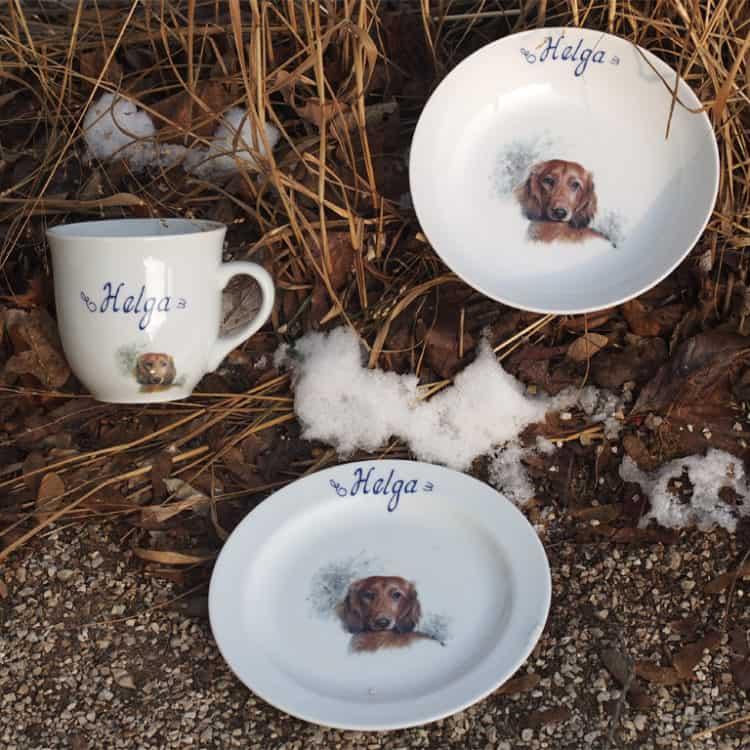 Kindergeschirr Porzellan Set mit Becher Mirek, Teller und Coupschale, Langhaardackel