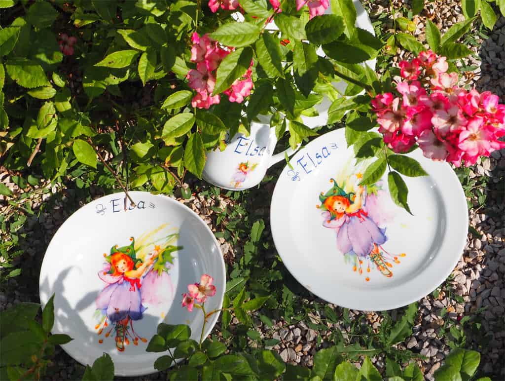 Kindergeschirr Porzellan Set Becher, Teller, Schale mit Azura Glöckchen und Name