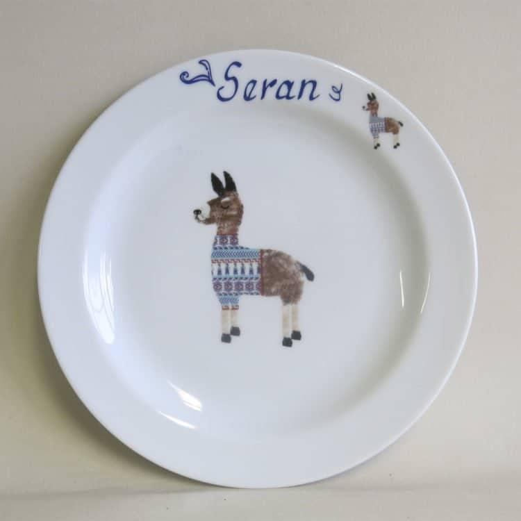 Kindergeschirr Porzellan Teller 19 cm mit Lama Lenny