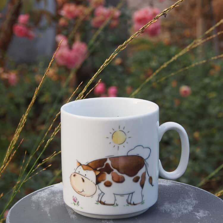 Stapelbarer Becher 270 ml mit Kuh und Sonne
