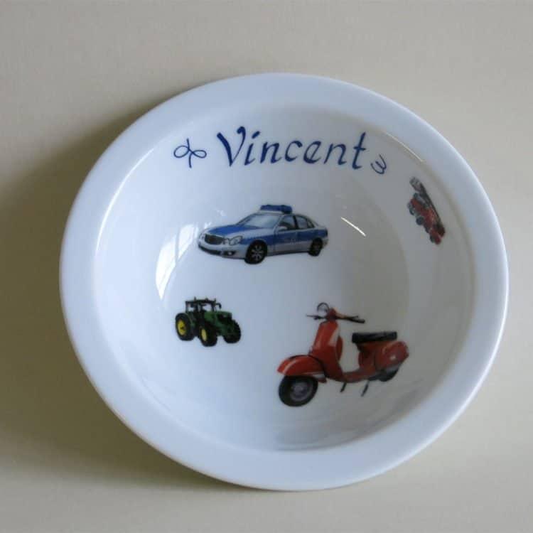 Kinderset Porzellan Müslischüssel 16 cm, viele Autos