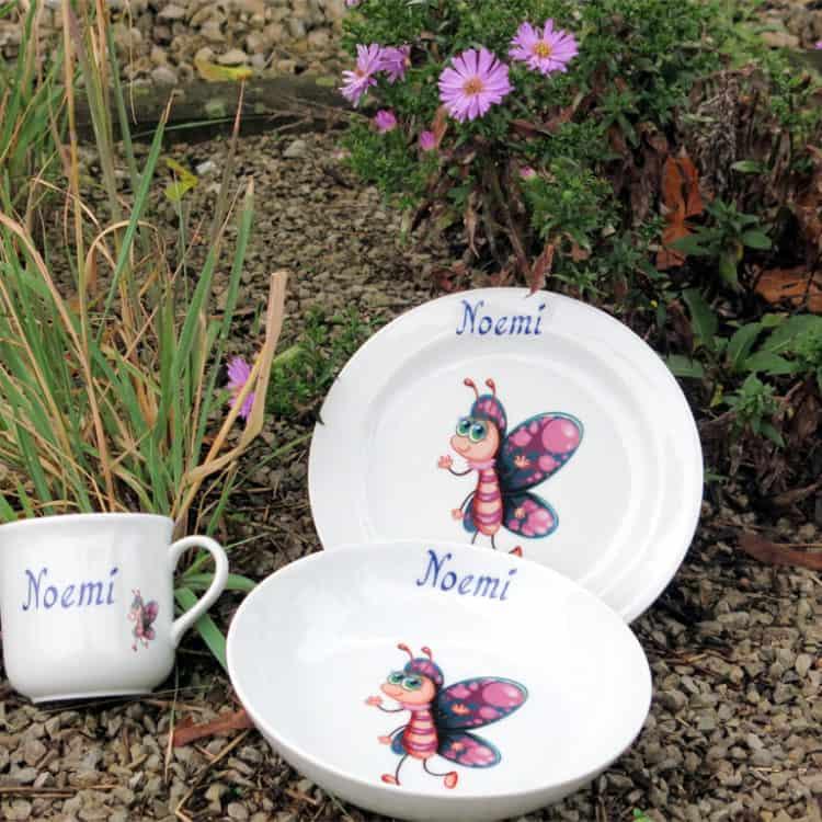 Kindergeschirr Porzellan Set Becher, Teller und Schale mit Smilla Schmetterling