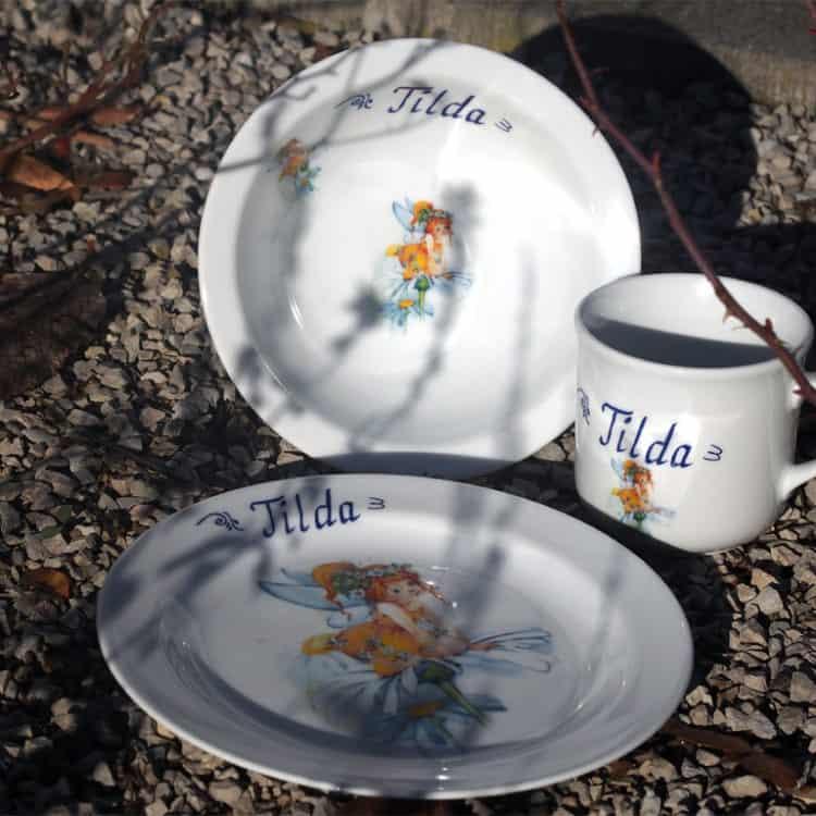 Kindergeschirr Porzellan Set Becher, Teller, Müslischüssel mit Namen personalisiert und Elfe Margarita Sonnenschein