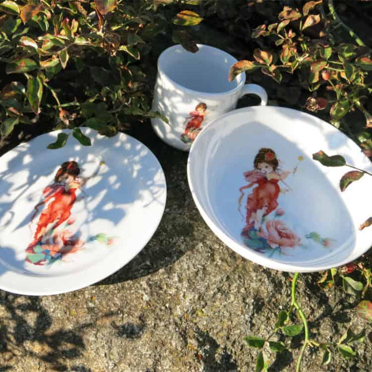 Kindergeschirr Set aus Porzellan Elfe Rosalie Rose