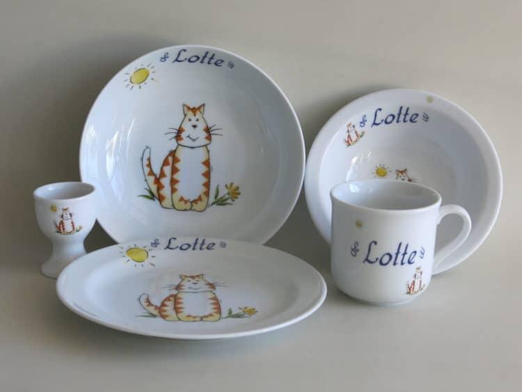 Geschirr Set Komplett mit Namen personalisiert und Katze