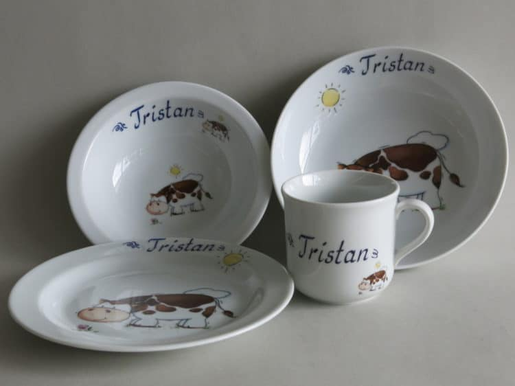 Geschirr Set Komplett mit Namen personalisiert und Kuh
