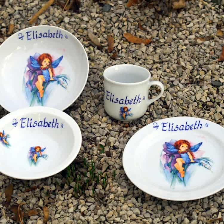 Kindergeschirr Porzellan Set Becher, Teller, Schale und Müslischüssel mit Elfe Lilli Lila und Name