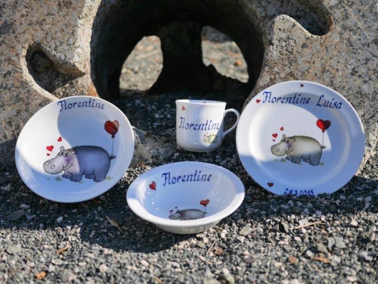 Kinderset Komplett mit Namen personalisiert und Nilpferd mit Herz