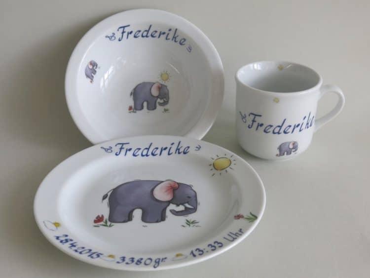 Geschirr Set Müsli mit Namen personalisiert und Elefant