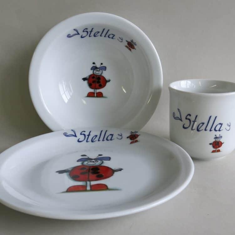 Kindergeschirr Porzellan Set Becher, Teller und Müslischüssel mit Marienkäferkind