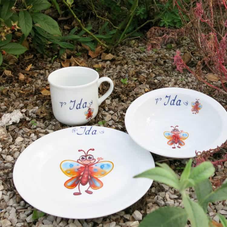 Kindergeschirr Porzellan Set Becher, Teller und Müslischüssel mit Ferdi Falter