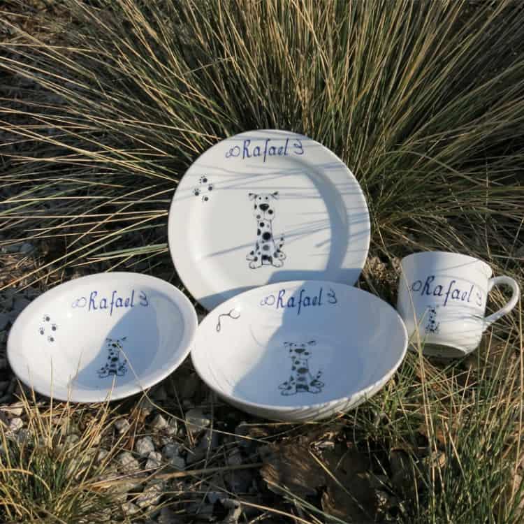 Kindergeschir Porzellan Set Becher, Teller, Schale, Müslischüssel mit Dalmatiner Mats und Namen